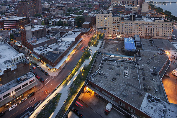 Aerial shot of the highline nyc