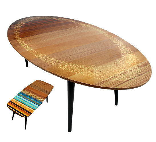 Upcycled retro oval table by Zoe Murphy