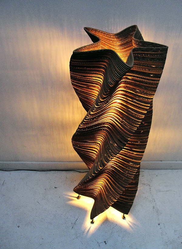 Floor lamp made from recycled cardboard by Graypants