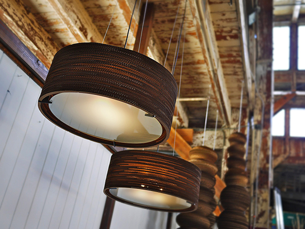 Pendant lights made from recycled cardboard by Graypants