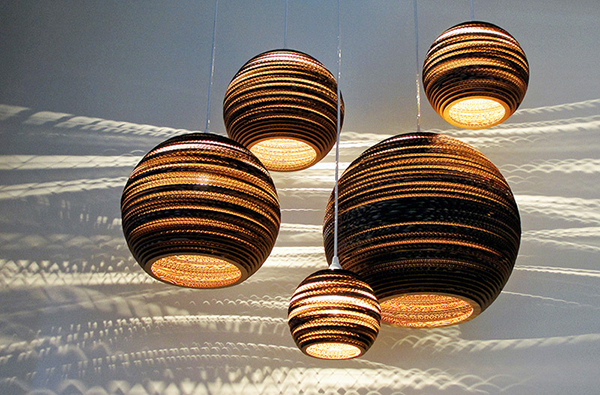 Spherical pendant recycled cardboard Scraplights by Graypants