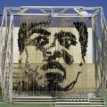 Muhammed Ali portrait made from punch bags