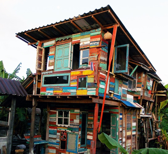 Thailand Art Studio Built From Reclaimed Boat Wood
