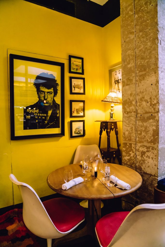 Yellow walls in a restaurant interior.jpg