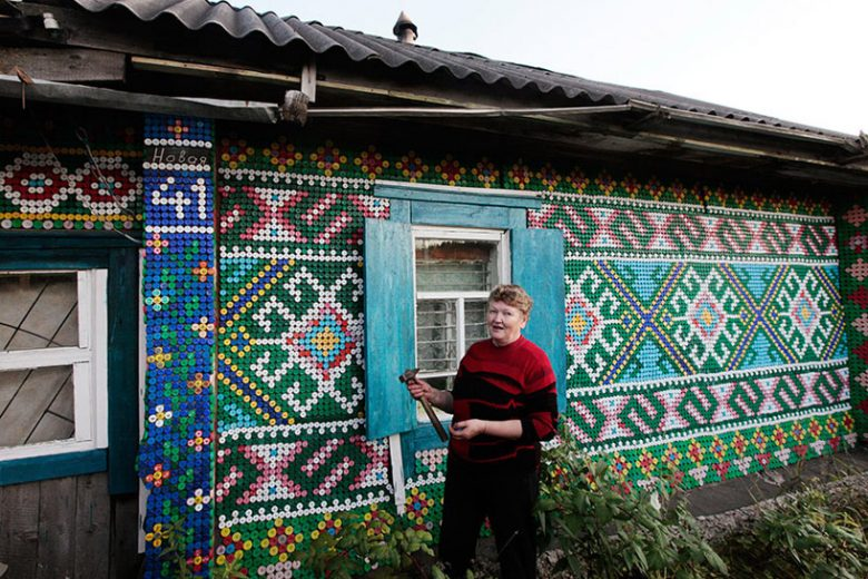 house covered in bottle caps
