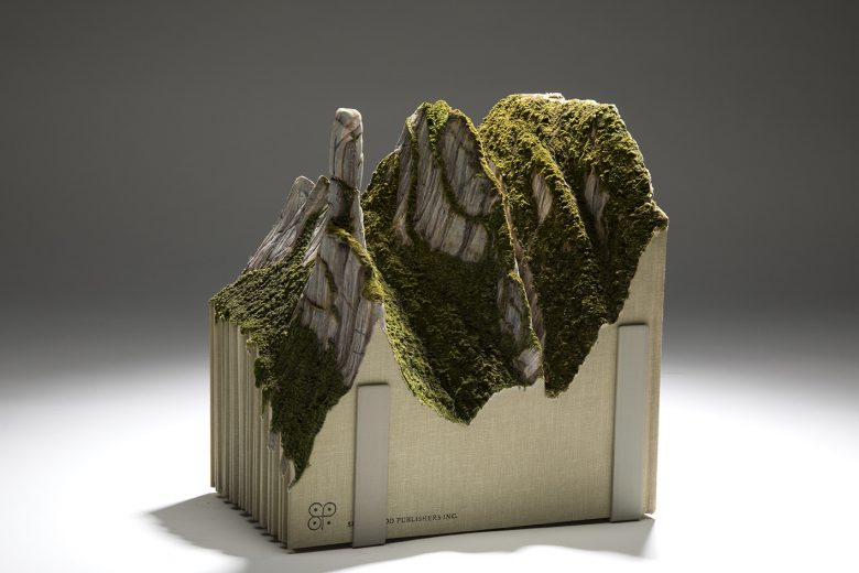 Sculpture carved from books by Guy Laramee
