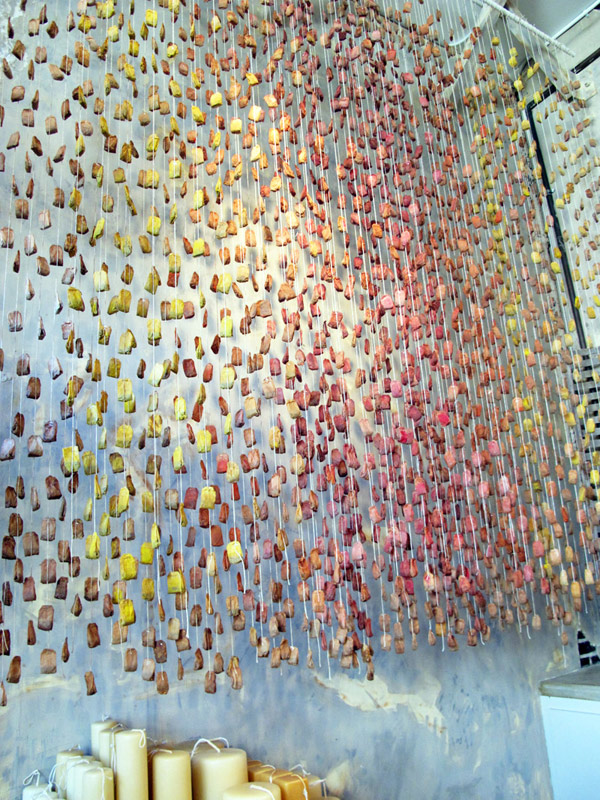 Painted Teabag Installation At Rolling Greens Upcyclist