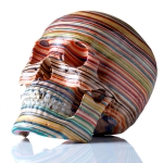 skull made from skateboards by haroshi