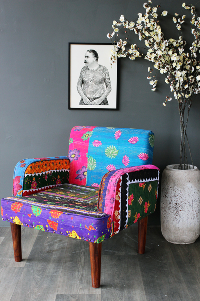Floral Patchwork Art Chair