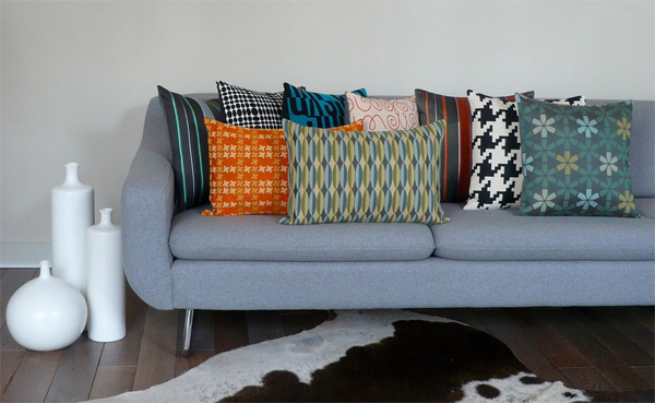 Upcycled Mid-century Modern Fabric cushions by Square Modern
