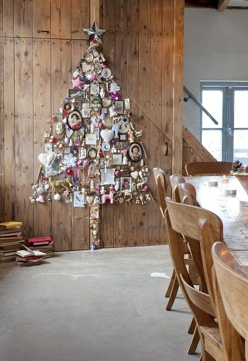 Christmas tree made from found objects assembled into a tree shape