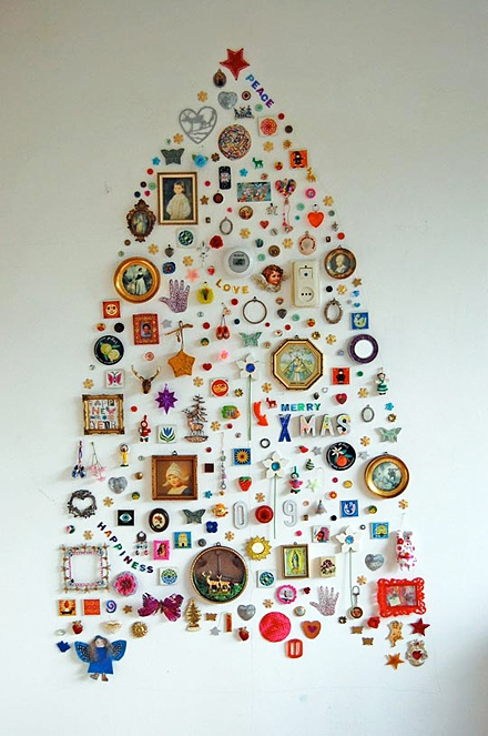 Alternative Christmas tree made from found objects arranged on the wall