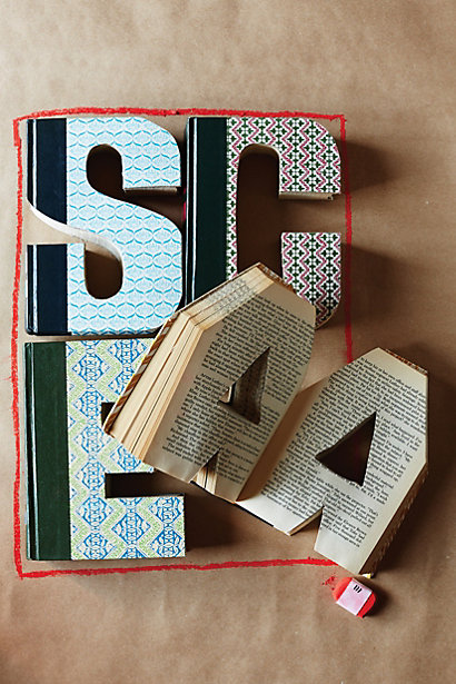 Anthropologie Library Letters Upcycled Books