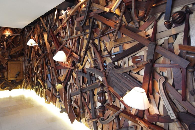 Feature wall crafted from reclaimed timber at New Hotel Athens