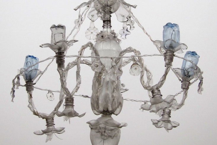 Detail of chandelier made from PET bottles