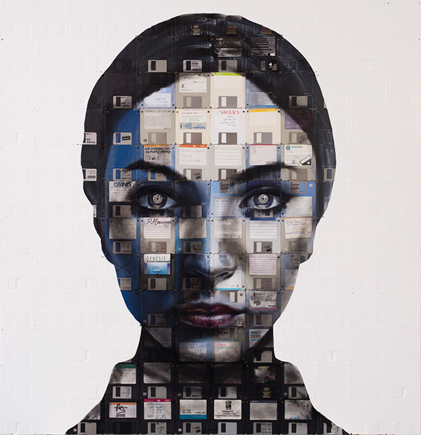 """Genesis"" portrait made from upcycled floppy disks by Nick Gentry"