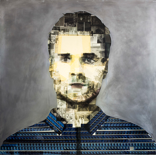 """Glitch"" portrait made from upcycled film negatives by Nick Gentry"