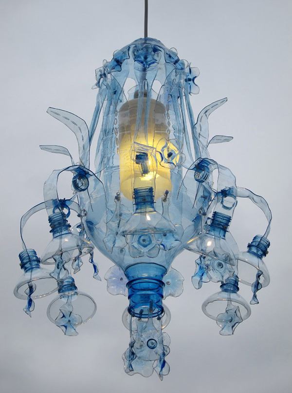 Lighting made from upcycled plastic bottles by Veronika Richterova