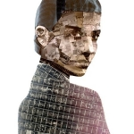 Metropolis portrait made from upcycled film negatives and salvaged x-rays by Nick Gentry