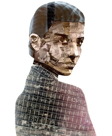 """Metropolis"" portrait made from upcycled film negatives, micorfilms and reclaimed x-rays by Nick Gentry"