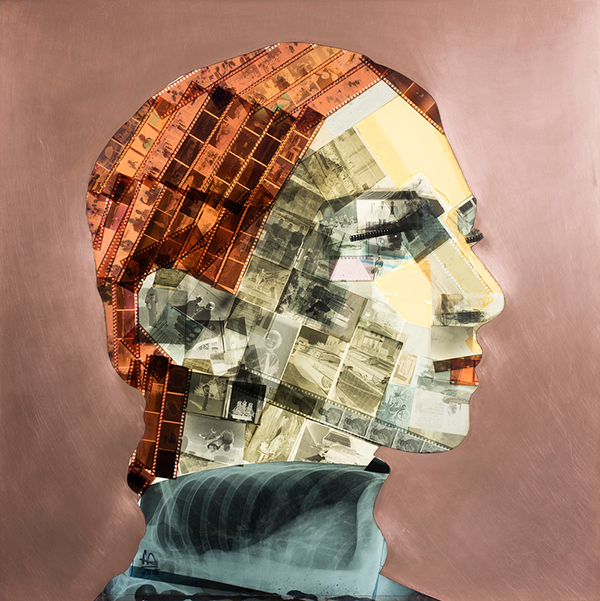 """Solitude"" portrait made from upcycled film negatives by Nick Gentry"