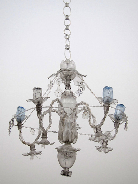 Chandelier made of upcycled plastic bottles by Veronika Richterová