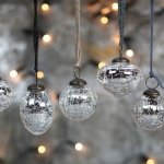 Silver snowdrop baubles by Nkuku