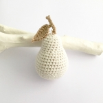 White crocheted pear ornament
