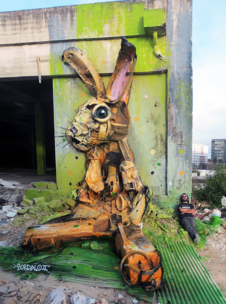 bordalo II trash assemblage art Rabbit
