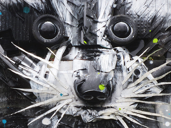bordalo II trash assemblage Racoon detail
