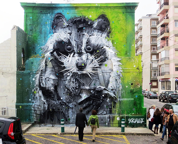 bordalo II trash assemblage art Racoon