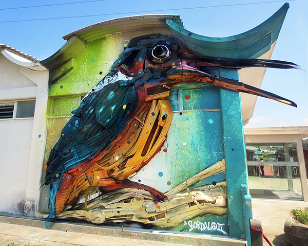 bordalo II trash assemblage art bird