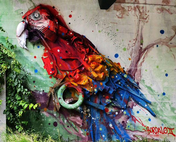 bordalo II trash assemblage art parrot detail