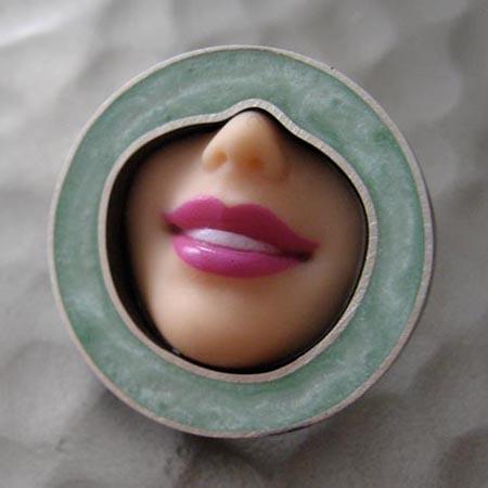 Barbie Doll smile brooch by Margaux Lange
