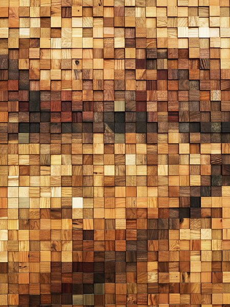 Scrap wood mosaic by Dressler Brothers
