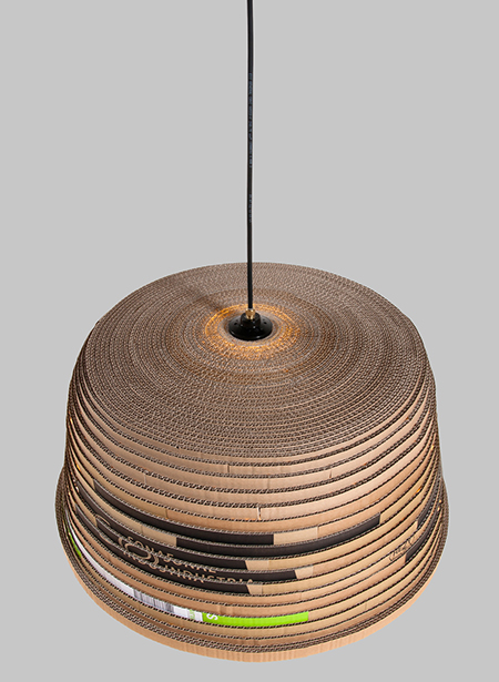 Beute upcycled cardboard lamp