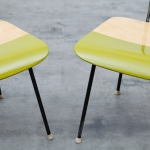 Detail of lime green remodelled mid-century chairs by Markus Friedrich Staab