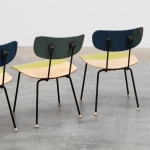 Detail of lime green upcycled mid-century chairs by Markus Friedrich Staab
