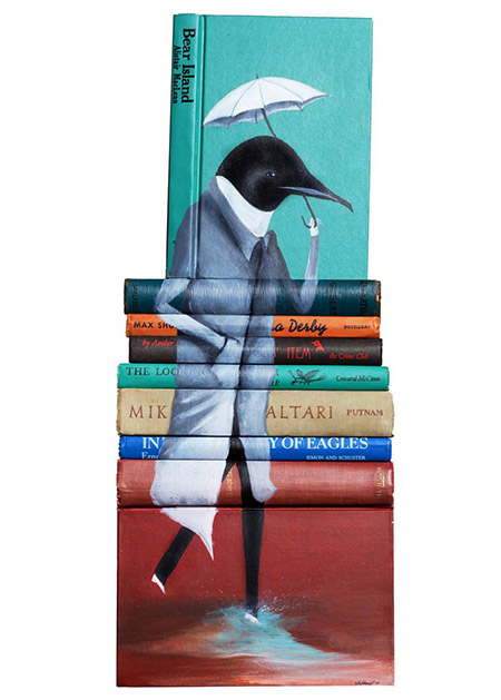 Far-from-Customary-Skies-paintings-on-discarded-books-by-Mike-Stilkey