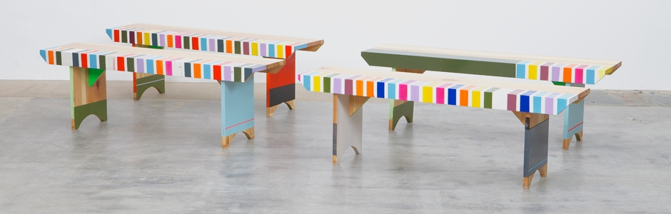 Multi-coloured upcycled bench by Markus Friedrich Staab
