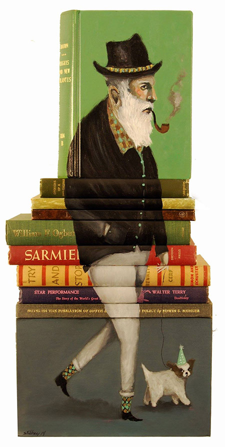 Opinions-of-a-Philosopher-Paintings-on-Discarded-books-by-Mike-Stilkey