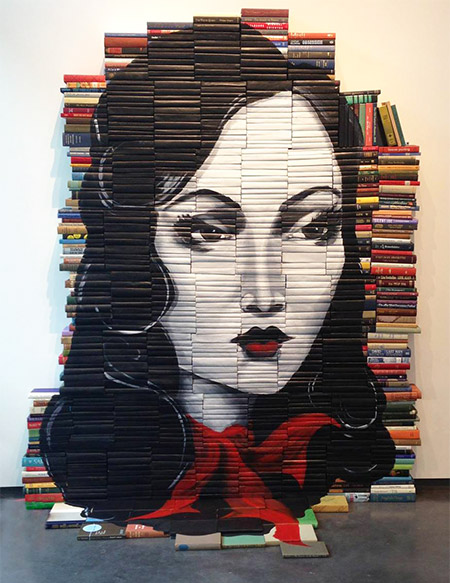 The-Lady-of-Arlington-paintings-on-discarded-books-by-Mike-Stilkey