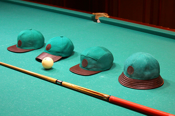 Hats-made-from-upcycled-billiard-table-cloth-by-Valorisation-Lab