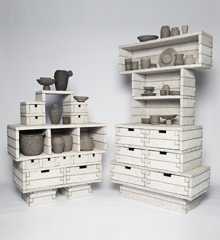 PaperPulp-Cabinets-made-from-recycled-paper-by-Debbie-Wijskamp