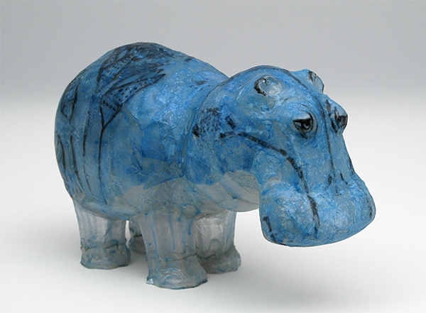 Hippo made from plastic bottles by Shari Mendelson