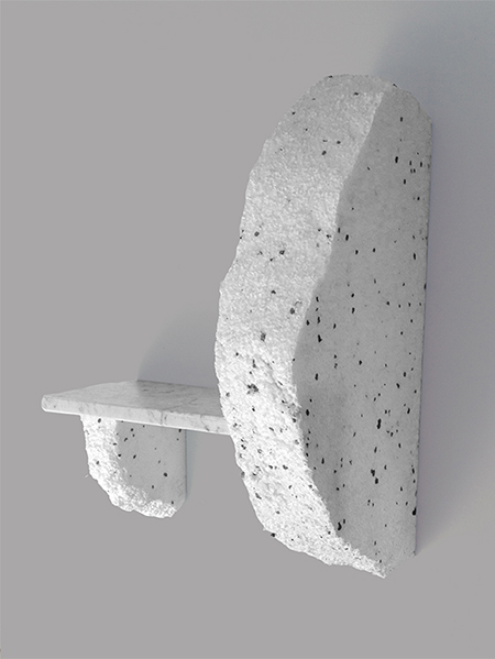 Duo shelf made from marble and polystyrene by Ilaria Bianchi