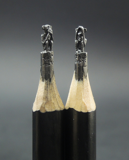Speak no evil and See no evil monkey sculptures carved from pencil lead by ToldART