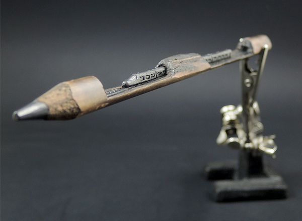 Train sculpture made from pencil lead by ToldART