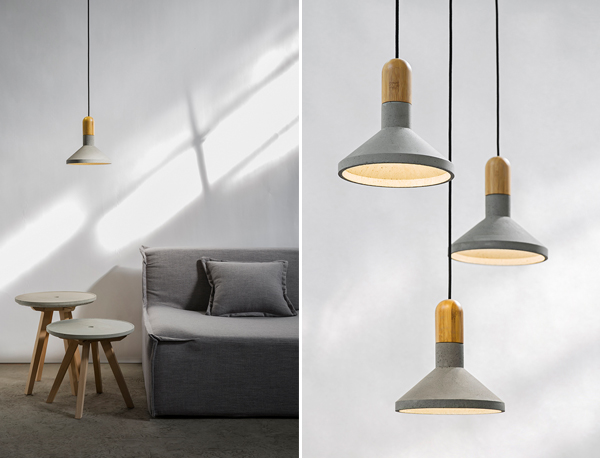 Contemporary pendant lamps and side tables made from upcycled cement and wood