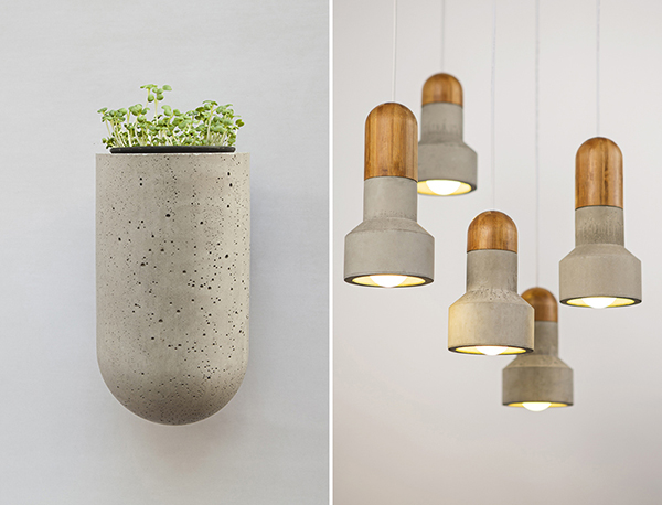 Pot holder and pendant lamps made from upcycled concrete and wood